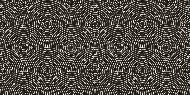 Kreisförmiges nahtloses Muster des weißen Labyrinths mit Punkten auf schwarzem Hintergrund, flach stock abbildung