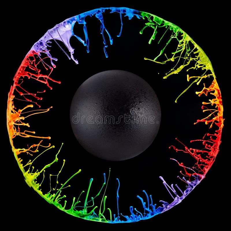 Kreisfarbe spritzt erzeugt von einem Sprecher lizenzfreie stockfotografie