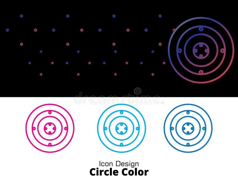 Kreisfarbikonenentwurf mit vier dem Artfarbeflach aert lizenzfreie abbildung