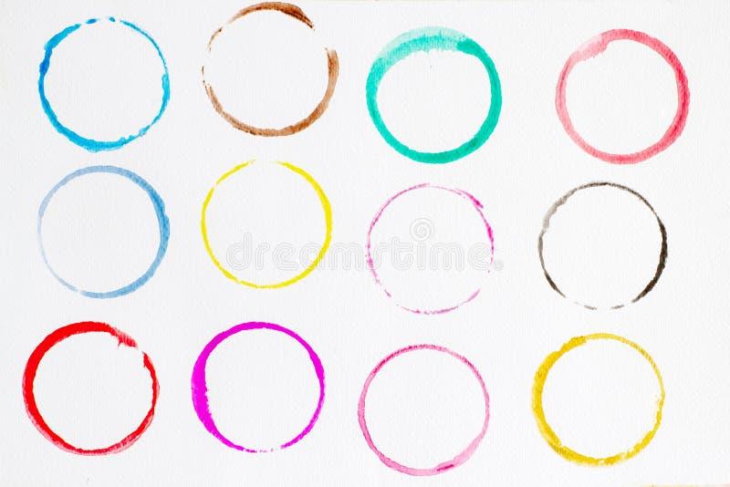 Kreisformgestaltungselemente Stellen Sie vom mehrfarbigen Aquarell, abstrakte Illustration auf einem wei?en Hintergrund ein vektor abbildung