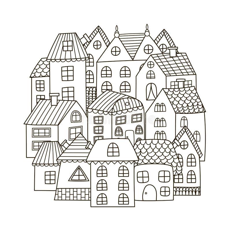 Kreisformmuster mit Häusern für Malbuch stock abbildung