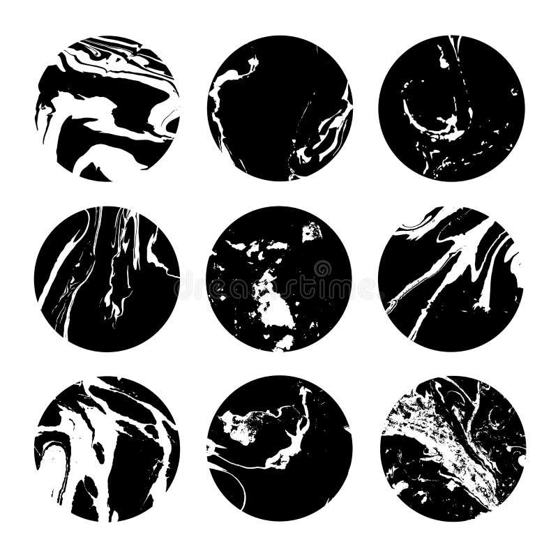 Kreisgestaltungselemente Stellen Sie Sammlung Beschaffenheit suminagashi ein Impressum-Tinten-Hand gezeichnet stock abbildung