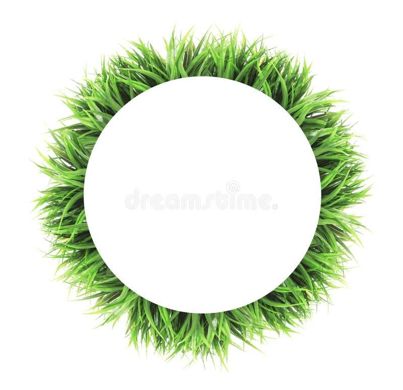 Kreisgrasrahmen lokalisiert auf weißem Hintergrund stockfoto