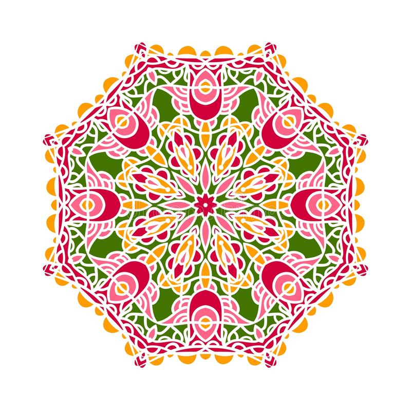 Kreishintergrund in den Schatten des Smaragds Blumenrundschreibenhintergrund mandala lizenzfreie abbildung
