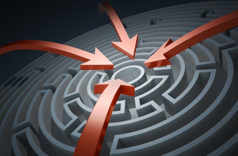Kreislabyrinth mit roten Pfeilen