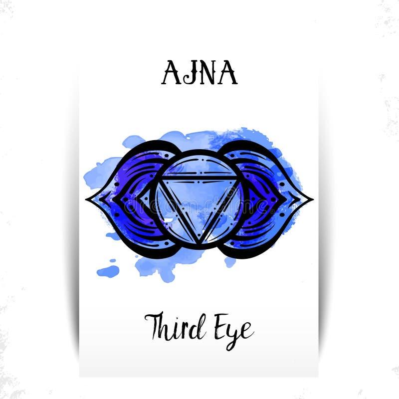 Kreismandalamuster Ajna-chakra Vektorillustration lizenzfreie abbildung