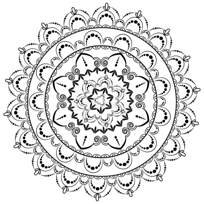Kreismuster in der Form der Mandala f?r Hennastrauch Mehndi vektor abbildung