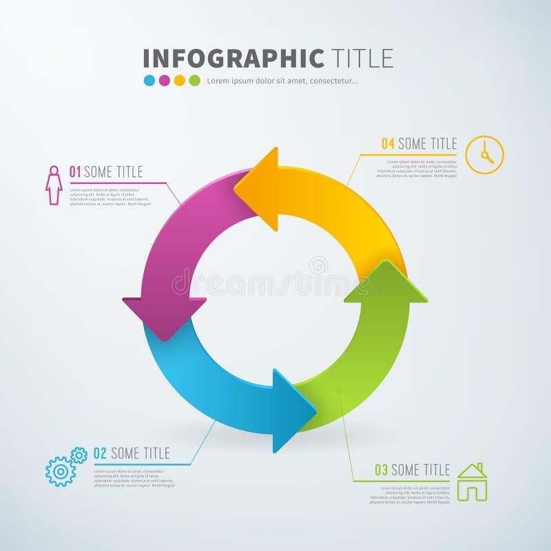 Kreispfeil-Diagrammstatistiken des Geschäfts infographic mit Ikonen vektor abbildung