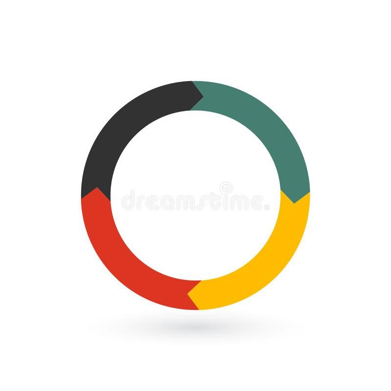 Kreispfeile für infographics Diagramm, Diagramm, Diagramm mit 4 Schritten, Wahlen, Teile Vektorgeschäftsschablone lokalisiert auf lizenzfreie abbildung