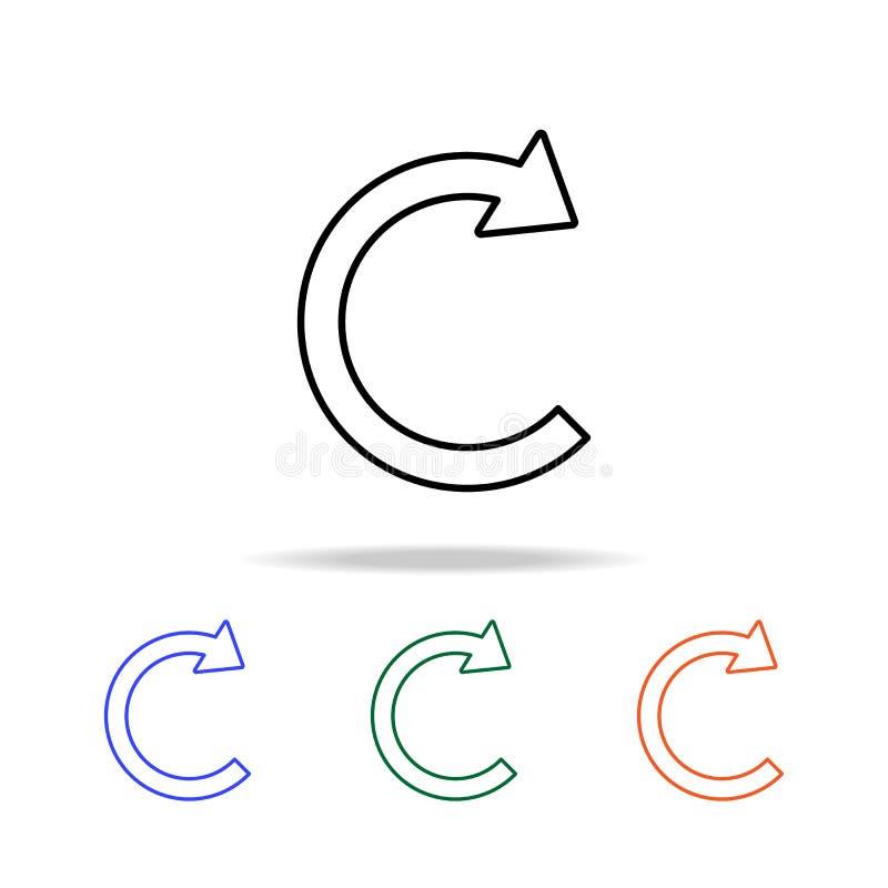 Kreispfeilikone Elemente der einfachen Netzikone in der multi Farbe Erstklassige Qualitätsgrafikdesignikone Einfache Ikone für We lizenzfreie abbildung