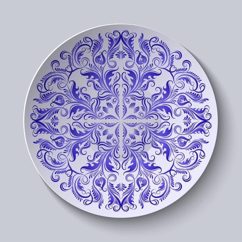 Kreisplatte mit blauer ethnischer Verzierung vektor abbildung