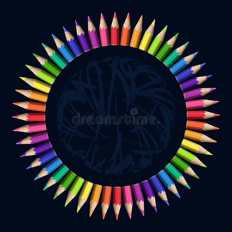 Download Kreisrahmen Von Realistischen Bunten Bleistiften Auf Dunklem Hintergrund Stock Abbildung - Illustration von dekor, brechung: 90234217