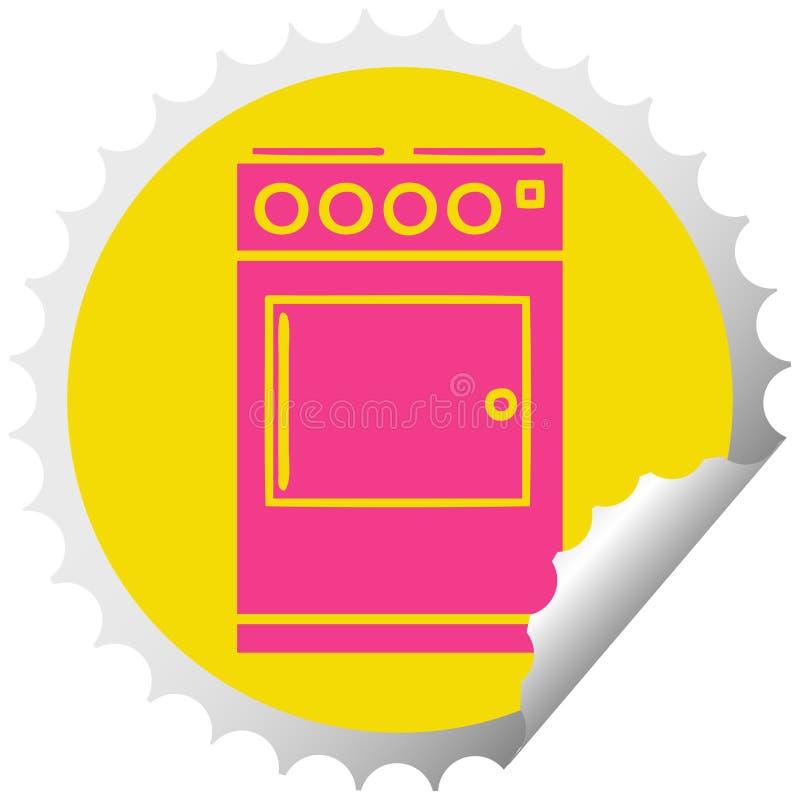 Kreisschalenaufkleberkarikaturofen und -kocher stock abbildung