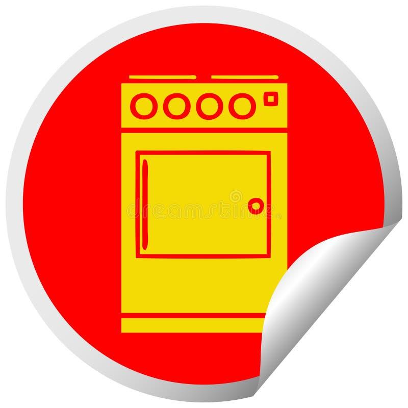 Kreisschalenaufkleberkarikaturofen und -kocher vektor abbildung