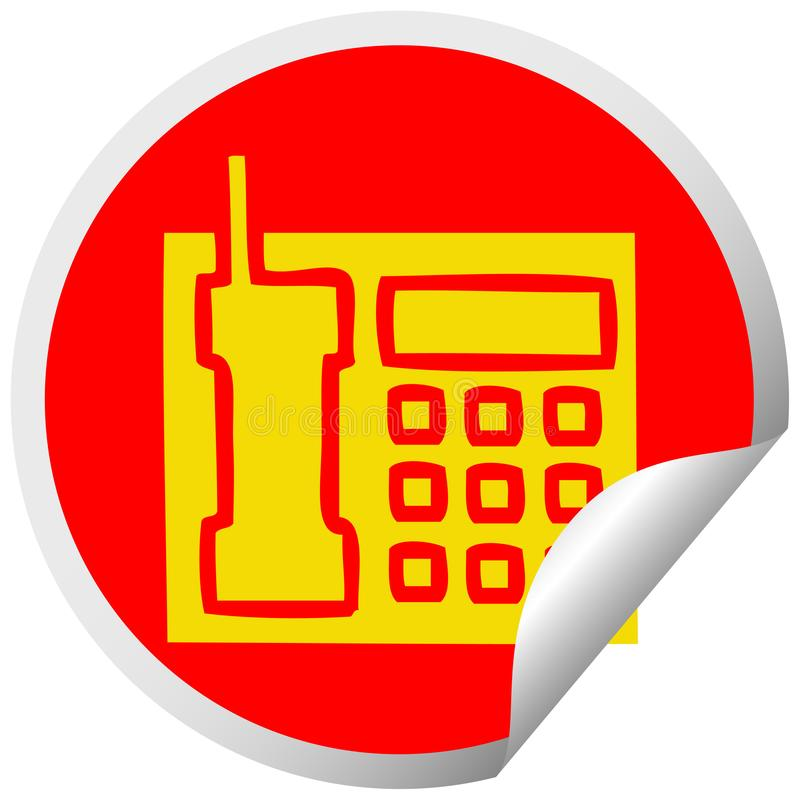 Kreisschalenaufkleberkarikaturtelefon stock abbildung