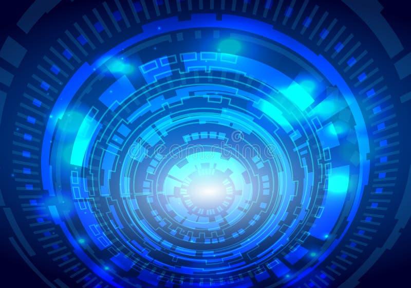 Kreistechnologie-Hintergrundkonzept der blauen Zusammenfassung futuristisches elektronisches, Vektorillustration vektor abbildung