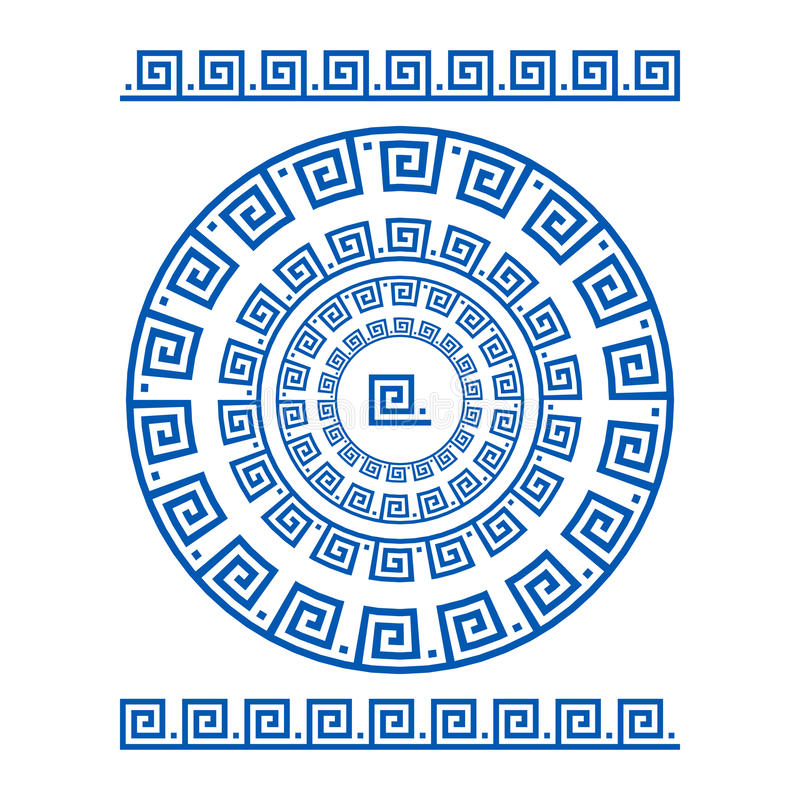 Kreisverzierungswindung Runder Rahmen, Rosette von alten Elementen Griechisches nationales antikes rundes Muster, Rechteckiger Im vektor abbildung