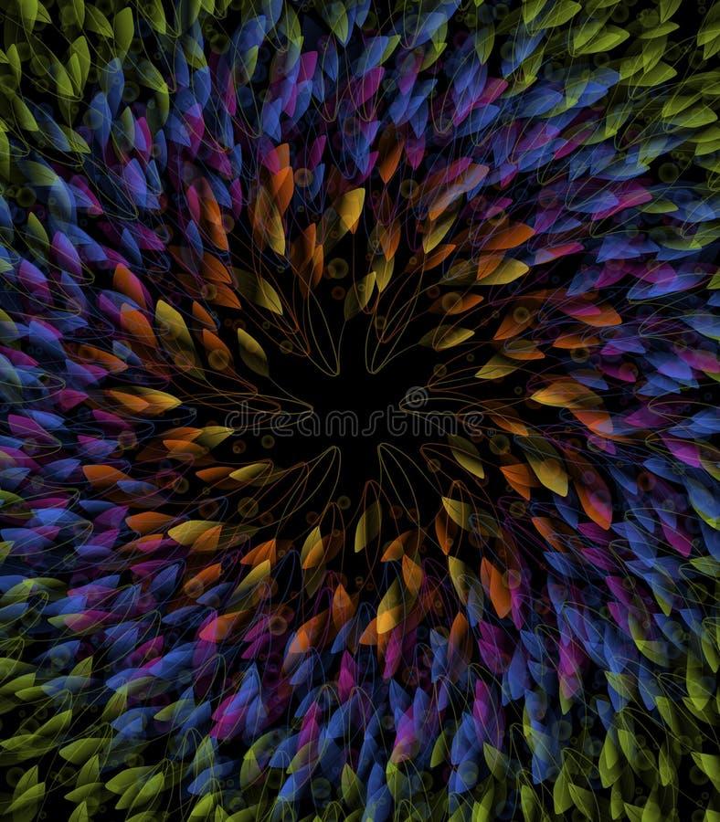 Kreiszusammensetzung von Zusammenfassungs-Blättern in den Regenbogen-Farben lizenzfreie abbildung