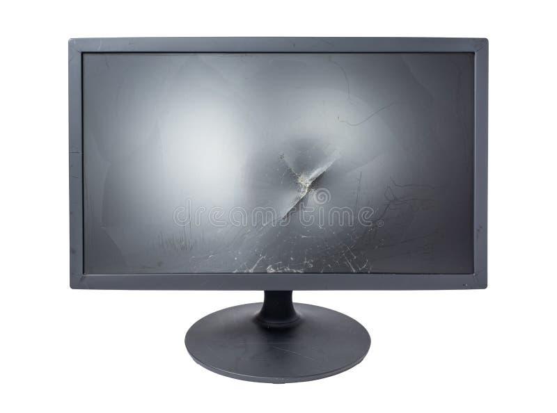 Krekingowy monitor na bielu obraz royalty free
