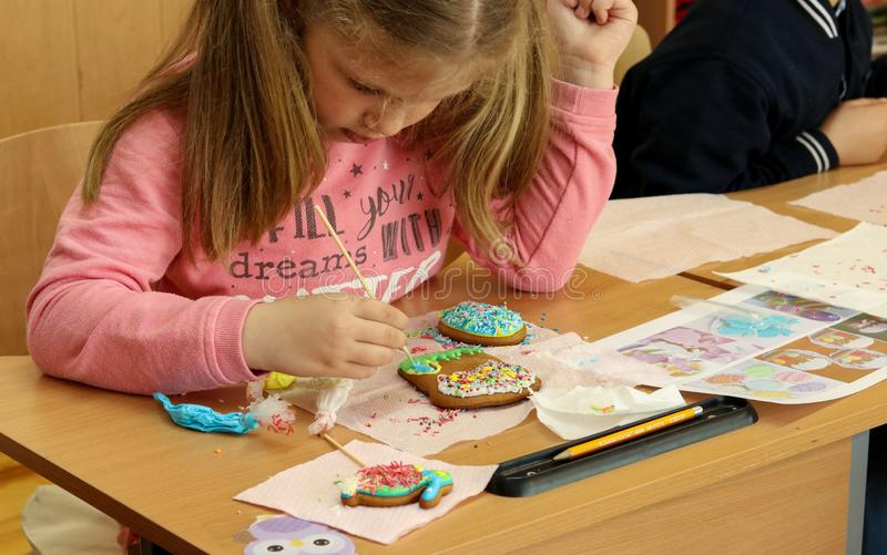 Kremenchug, Poltava region, Ukraine, April 24, 2019, a lesson of creativity in elementary school, children learn to decorate stock photos