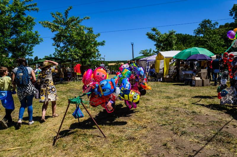 Kremenchug, Ukraine - June 3, 2017: People on a peasant fair royalty free stock images