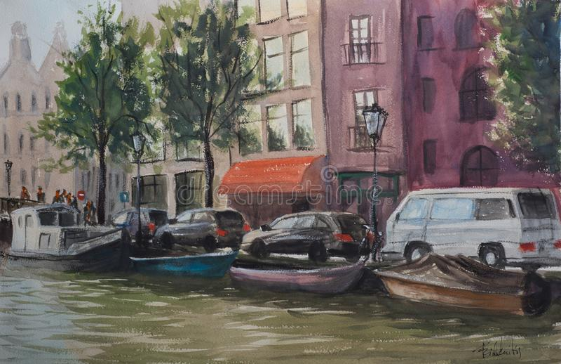 Kreml miasta krajobrazu noc znaleźć odzwierciedlenie rzeki Amsterdam kanały ilustracja wektor