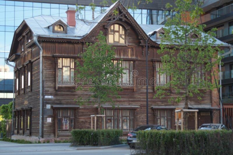 Kreml miasta krajobrazu noc znale?? odzwierciedlenie rzeki Gogol ulica 20 Zabytek drewniana architektura początek 20 wieku wiek obrazy royalty free