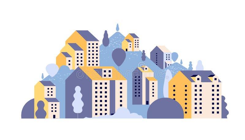 Kreml miasta krajobrazu noc znale?? odzwierciedlenie rzeki Minimalni mieszkaniowi domy w lato góry krajobrazie Plenerowa 2d miast ilustracji