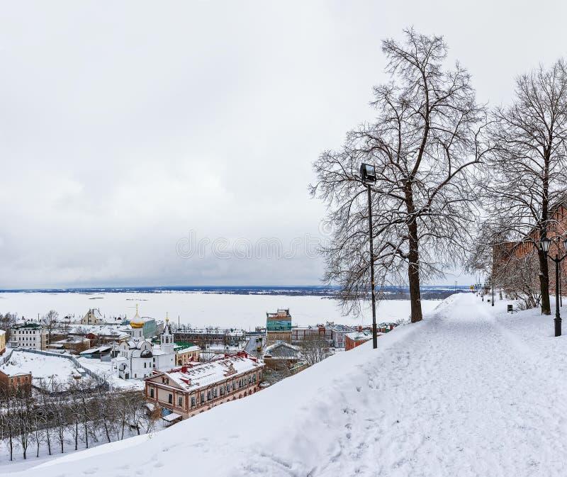 Kreml Nizhny Novgorod i Ryssland Vinter arkivfoto