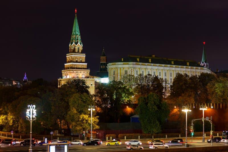 Kremlevskaya embankment near walls and towers of Moscow Kremlin with night illumination stock photo