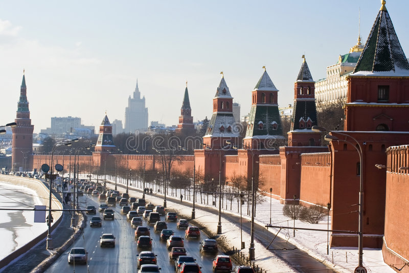 kremlin ściana Moscow zdjęcie royalty free