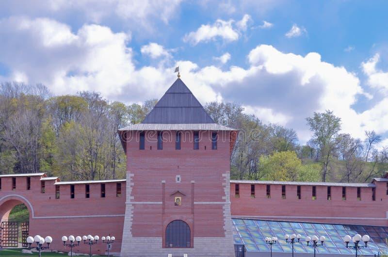 Kremlin ściana przy Nizhny Novgorod w lato zdjęcie royalty free
