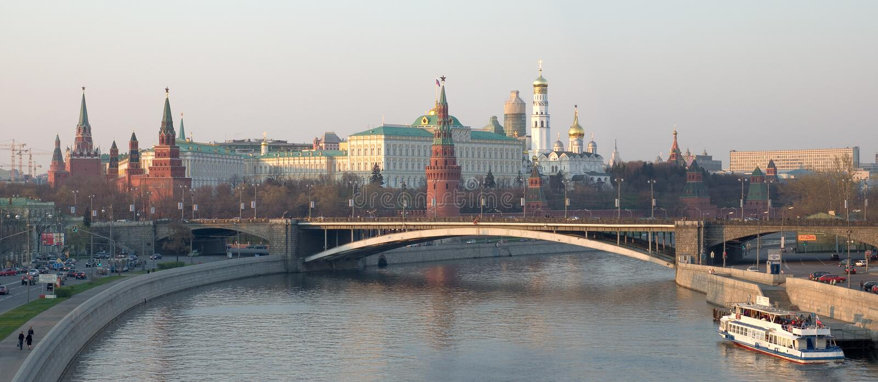 Kremlin daytime panorama stock photo