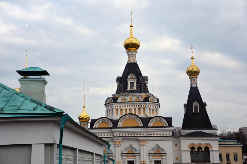 Kremlin in Dmitrov, ancient town in Moscow region. Color photo. Golden onions are shining royalty free stock photography