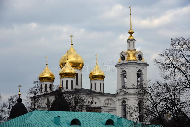 Kremlin in Dmitrov, ancient town in Moscow region. Color photo. Golden onions are shining stock photos