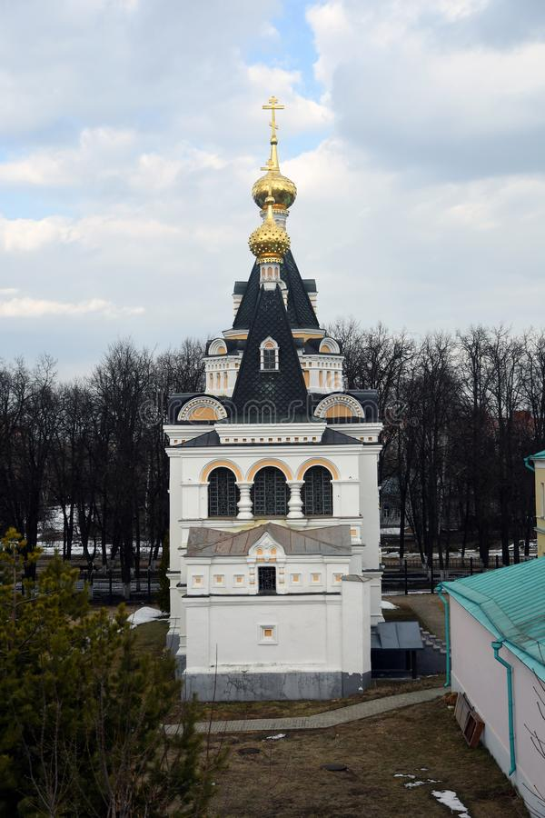 Kremlin in Dmitrov, ancient town in Moscow region. Color photo. Golden onions are shining stock photo
