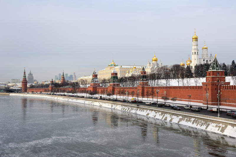 Kremlin Embankment and Frozen Moskva River stock photo