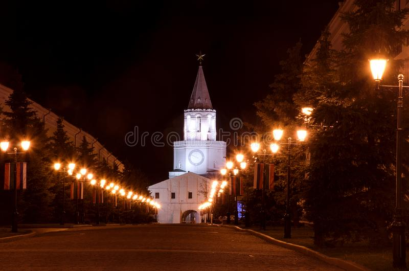Kremlin Kazan w świetle lampionów przy nocą zdjęcia royalty free