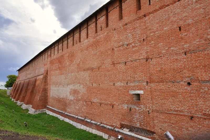 Kremlin in Kolomna, red fortress, brickwork of an ancient fortification royalty free stock image