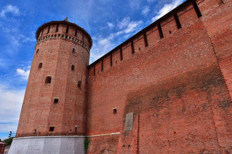 Kremlin in Kolomna, red fortress, brickwork of an ancient fortification stock photography