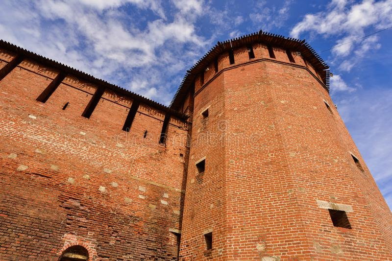 Kremlin in Kolomna, red fortress, brickwork of an ancient fortification stock photo