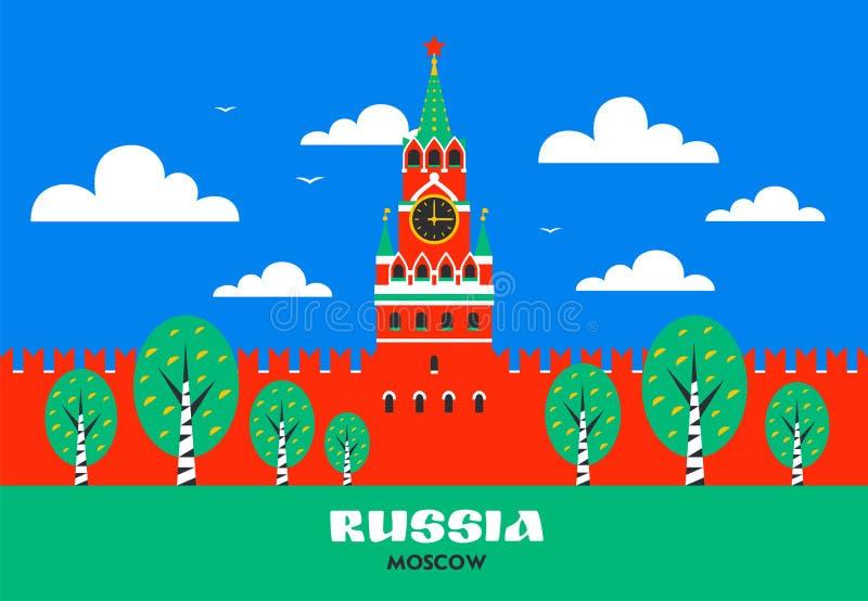 kremlin moscow Башня Spasskaya Кремля на красной площади в Москве, России Русский национальный ориентир ориентир в плоском стиле бесплатная иллюстрация