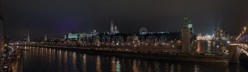 kremlin Moscow noc panorama Russia obraz royalty free