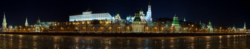 kremlin Moscow noc panoramy zima fotografia royalty free