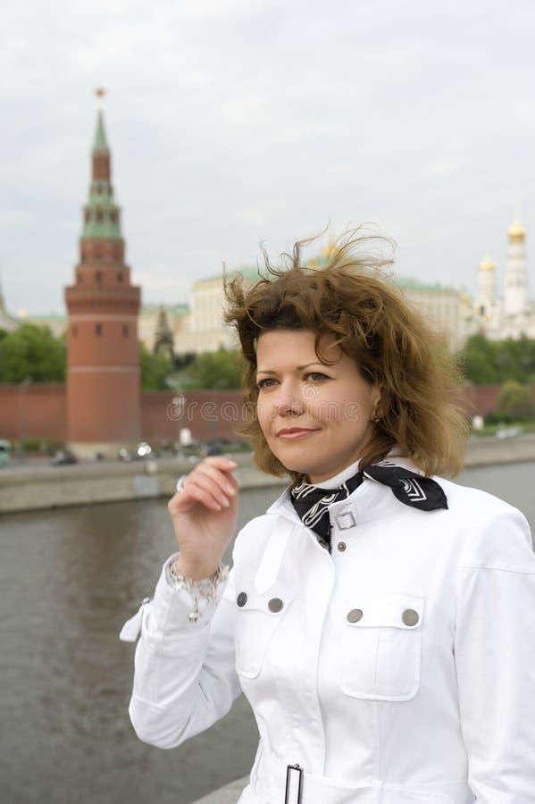 kremlin Moscow rosjanina kobieta obraz stock