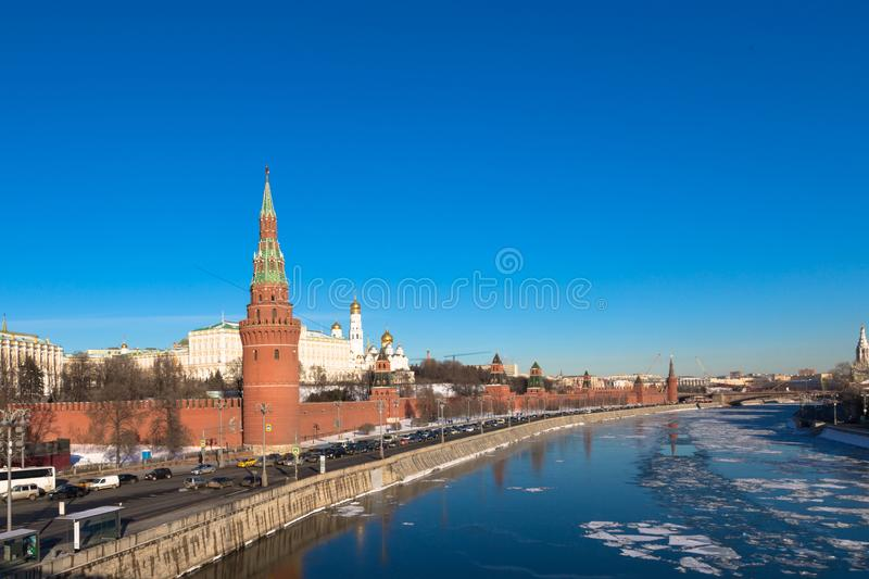 Kremlin of Moscow in Russia. Embankment of the Moskva River royalty free stock photography