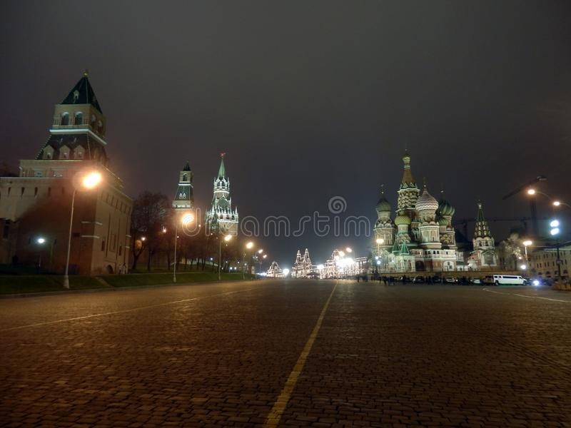 Kremlin of Moscow and Saint Basil`s Cathedral stock images