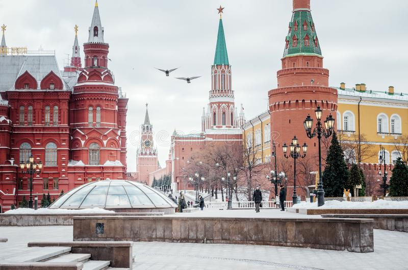 Kremlin, Moscow, towers, historical Museum, birds, sky, stock photography