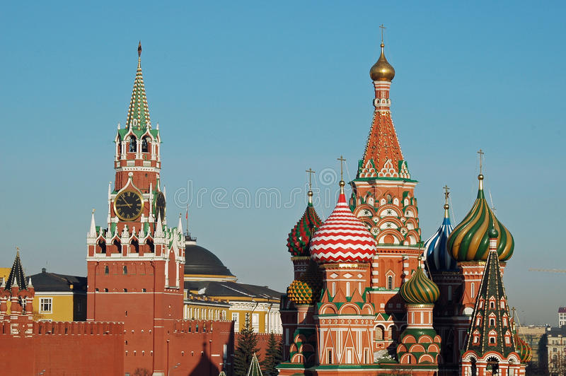 The Kremlin & St Basils Cathedral, Moscow, Russia stock photos