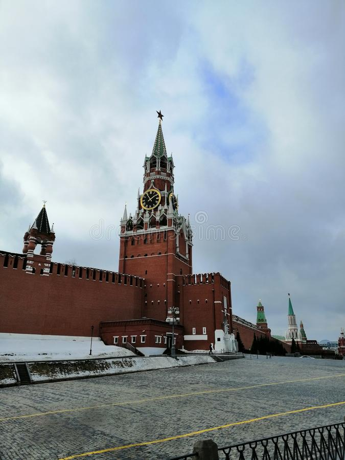 Kremlin tower on the red square of Moscow stock photos